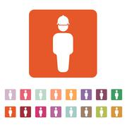 The worker icon. Engineer and repair, technician, builder symbol. Flat - stock illustration