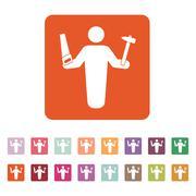 The carpenter avatar icon. Builder and handyman, craftsman symbol. Flat - stock illustration