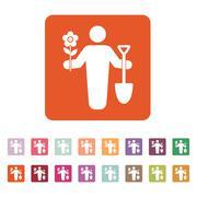 The gardener avatar icon. Gardening and agriculture, garden symbol. Flat Stock Illustration