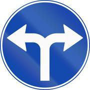 Norwegian mandatory direction sign - Turn left or right Stock Illustration