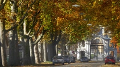 Autumn boulevard road to Eggenberg Palace, Graz, Austria Stock Footage
