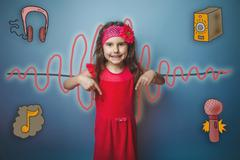 Girl in a pink dress shows thumbs down symbol of the sound wave Stock Photos