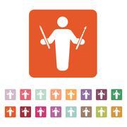 The painter avatar icon. Artist and craftsman symbol. Flat Stock Illustration