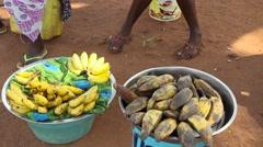 banana street seller close up Buba city market - stock footage