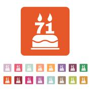 The birthday cake with candles in the form of number 71 icon. Birthday symbol - stock illustration