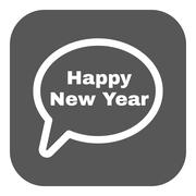 The speech bubble with the word happy new year icon. Celebration and  holiday Stock Illustration