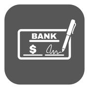 The check icon. Checkbook and cheque, pay, payment, paying symbol. Flat Stock Illustration
