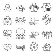 895 Charity Silhouette line icons - stock illustration