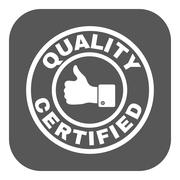 The certified quality and thumbs up icon.  Approval, approbation, certification Stock Illustration