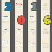 Cool calendar with colorful numbers for 2016 - stock illustration