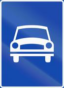 Norwegian regulatory road sign - Motor traffic way - stock illustration
