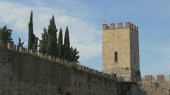 Tower on Piazza del Duomo wall in Pisa Stock Footage