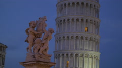 Fontana dei Putti near the famous Leaning Tower of Pisa Stock Footage