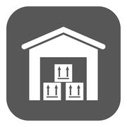 The warehouse icon. Storehouse and logistic symbol. Flat Piirros