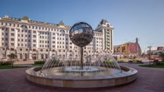 Novosibirsk City, Fountain, Russia, Time lapse (Hyper Lapse) Stock Footage