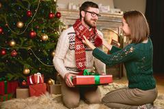 Sweethearts on Christmas eve - stock photo