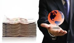 World economic concept, Businessman take profit from globalization Stock Photos