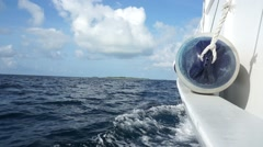Boat Portside with fender, blue sky and ocean - stock footage