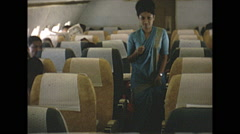 Vintage 16mm film, 1970, India, in-flight cabin Air India Boeing 707 - stock footage