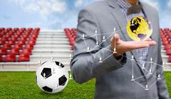 Stock Photo of Social network with football sport business concept