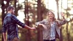 Young cute couple dancing together Stock Footage