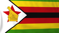 Flag of Zimbabwe waving in the wind, seemless loop animation Stock Footage