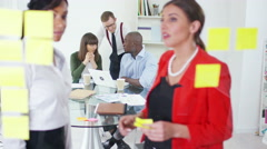 4K Creative business group in  office, brainstorming for ideas with sticky notes - stock footage