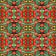 Cucumbers and tomatoes, effect of a kaleidoscope. - stock photo