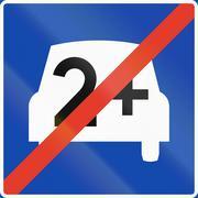 Stock Illustration of Norwegian regulatory road sign - Carpool lane ends