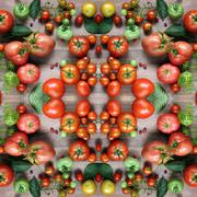 Red tomatoes, effect of a kaleidoscope. Packing, advertizing, cloth. Stock Photos