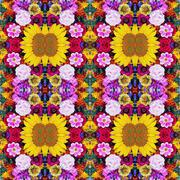 Background from flowers, effect of a kaleidoscope. - stock photo
