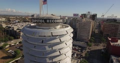 Aerial Drone Footage of Capitol Records in Hollywood, Ca Stock Footage