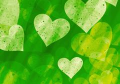 many hearts on green backgrounds of Love symbol - stock illustration