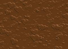 hearts from wet milk chocolate. sweet background - stock illustration