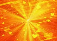dreamy sparkling light hearts on sun rays backgrounds - stock illustration