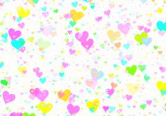 many multicolored small hearts on white backgrounds - stock illustration