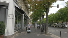 Walking by Le Lit National on Avenue du President Wilson, Paris Stock Footage