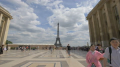 Eiffel Tower seen from Palais de Chaillot, Paris Stock Footage