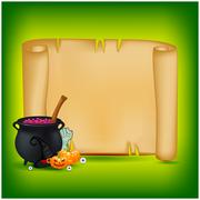 Halloween banner, card with empty paper scroll and witches cauldron, potion,  Stock Illustration