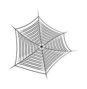 Halloween spider web, cobweb symbol, icon. vector illustration isolated on wh - stock illustration