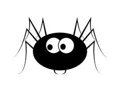 Spider halloween icon, symbol Silhouette. Vector illustration on white backgr - stock illustration