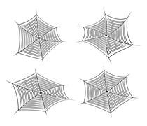 Halloween spider web, cobweb symbol, icon set. vector illustration isolated o - stock illustration