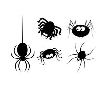 Spider halloween icon, symbol Silhouette set. Vector illustration on white ba - stock illustration
