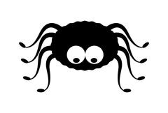 Spider halloween icon, symbol Silhouette. Vector illustration on white backgr - stock illustration