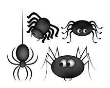 Spider halloween icon, symbol gradient mesh set. Vector illustration on white Stock Illustration