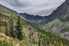 Upper part of the Siberian mountain river valley in gloomy weather Stock Photos