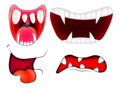 Cartoon smile, mouth, lips with teeth set. vector mesh illustration isolated  - stock illustration