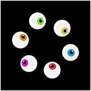 Halloween eyeball vector symbol set. Colorful cartoon clipart pupil, eye illu - stock illustration