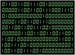 0,1 digits vector wallpaper. Green Binary code on black background. Digital m Stock Illustration