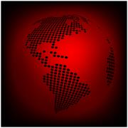 Globe earth world map - abstract dotted vector background.  Red wallpaper ill - stock illustration